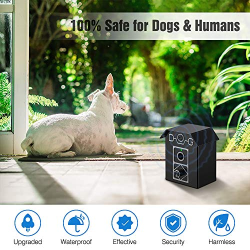 Kaiercat Anti Barking Device, Bark Box Outdoor Dog Repellent with Adjustable Ultrasonic Level Control Sonic Bark Deterrents, Bark Controller Up to 50 Ft. Range Safe for Dogs