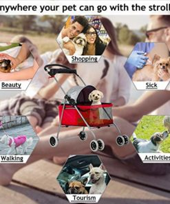 Cat Dog Stroller for Small & Medium Dogs Up to 35Lbs Kitten Doggie Cage Waterproof Foldable Travel Carrier Puppy Strolling Cart Durable 4 Wheels Large Pet Stroller Jogger with Cup Holders, Red