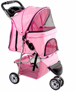 VIVO Pink 3 Wheel Pet Stroller for Cat, Dog and More | Foldable Carrier Strolling Cart (STROLR-V003N)