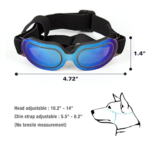 Enjoying Dog Sunglasses – Small Dog Goggles UV Protection Windproof Adjustable Pet Goggles for Doggy Puppy Cat – Small Blue