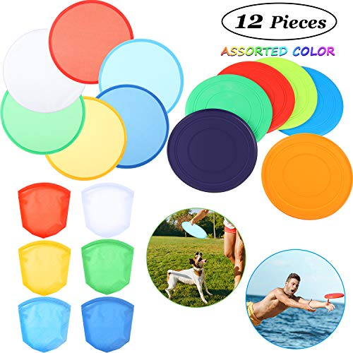 Gejoy 6 Pieces Silicone Flying Disc Dog Training Flyer Dog Toy Disc and 6 Pieces Folding Toy Pocket Foldable Flying Disc for Pet Party Favors Summer Outdoor Activity Game (Assorted Color)