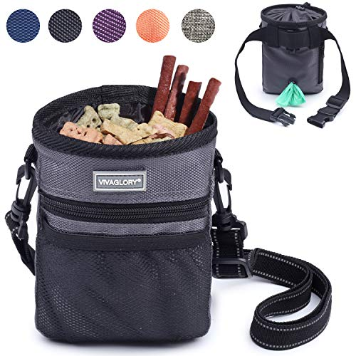 Vivaglory Dog Treat Bag, Hands Free Puppy Training Pouch with Adjustable Waistband, Reflective Shoulder Strap and Dog Waste Bag Dispenser for Training, Walks and Outings, Gray