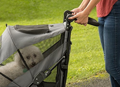Pet Gear NO-ZIP Stroller, Push Button Zipperless Dual Entry, for Single or Multiple Dogs/Cats, Pet Can Easily Walk In/Out, No Need to Lift Pet, Dark Platinum, Excursion