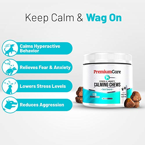 PremiumCare Calming Treats for Dogs – Made In USA – Helps With Dog Anxiety, Separation, Barking, Stress Relief, Thunderstorms and More – Natural Calming Relaxer for Aggressive Behavior – 120 Chews