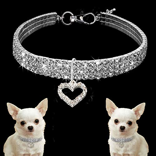 CheeseandU Pet Necklace Cute Dog Cat Elastic Adjustable Bling Rhinestone Diamond Collar Necklaces with Heart Pendant Fancy Princess Wedding Collar for Small Pets Cats Kitten Puppy, White