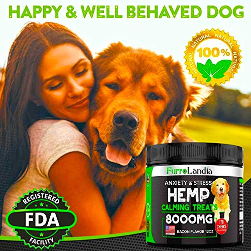 FurroLandia Hemp Calming Treats for Dogs – 170 Soft Chews – Made in USA – Hemp Oil for Dogs – Dog Anxiety Relief – Natural Calming Aid – Stress – Fireworks – Storms – Aggressive Behavior