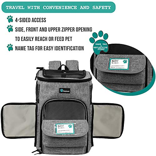 PetAmi Pet Carrier Backpack for Small Cats, Dogs, Puppies   Airline Approved   Ventilated, 4 Way Entry, Safety and Soft Cushion Back Support   Collapsible for Travel, Hiking, Outdoor (Heather Gray)