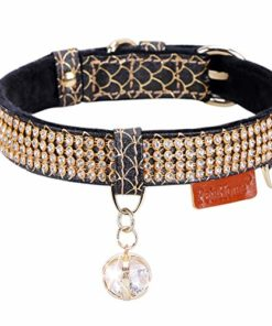 PetsHome Cat Collar, Dog Collar, [Bling Rhinestones] Premium PU Leather with Pendant Adjustable Collars for Small Dog and Cat Small Black
