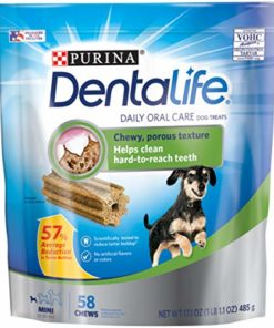 Purina DentaLife Made in USA Facilities Toy Breed Dog Dental Chews, Daily Mini – 58 ct. Pouch, 17.1 oz. (00017800176293)