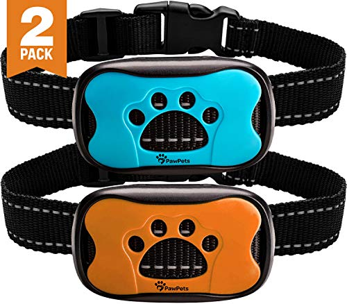 PawPets Anti Bark Collar – No Shock Training Dog Collar – Humane with Vibration and Sound Barking Collar for Small Medium Large Dogs 5-110lbs – 2 Pack – Great as Gift