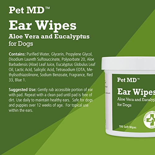 Pet MD – Dog Ear Cleaner Wipes – Otic Cleanser for Dogs to Stop Itching, Yeast and Mites with Aloe and Eucalyptus – 100 Count