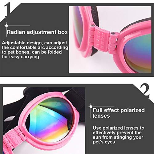 2 Pcs Dog Goggles, Adjustable Strap Dog Goggles Eye wear Protection for Travel Skiing, Black UV Protection Waterproof Sunglasses for Dog (Black, Black)