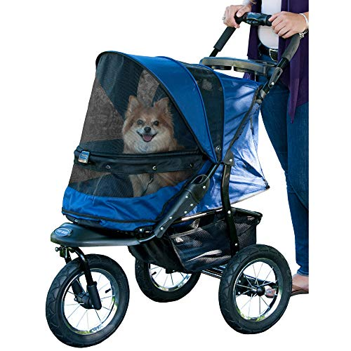 Pet Gear No-Zip Jogger Pet Stroller for Cats/Dogs, Zipperless Entry, Easy One-Hand Fold, Air Tires, Cup Holder + Storage Basket, Midnight River