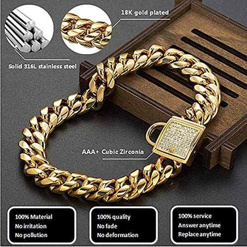 Aiyidi Pet Dog Personality Dog Collar Stainless Steel 18K Gold Plated Strong Dog Training Collar Curb Cuban Chain with Zirconia Rhinestone Lock Necklace for Dogs (10inches)