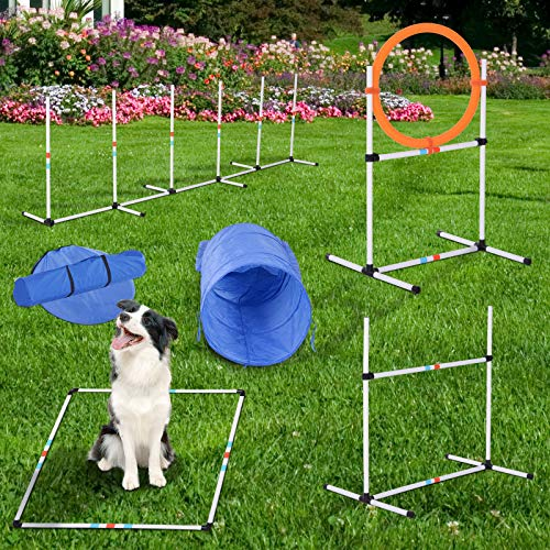 PawHut 5 Piece Outdoor Game Dog Agility Training Equipment Set Agility Starter Kit Jumping Ring Hurdle Bar Tunnel