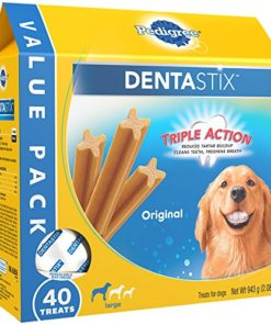 PEDIGREE DENTASTIX Large Dog Dental Treats Original Flavor Dental Bones, 2.08 lb. Value Pack (40 Treats)