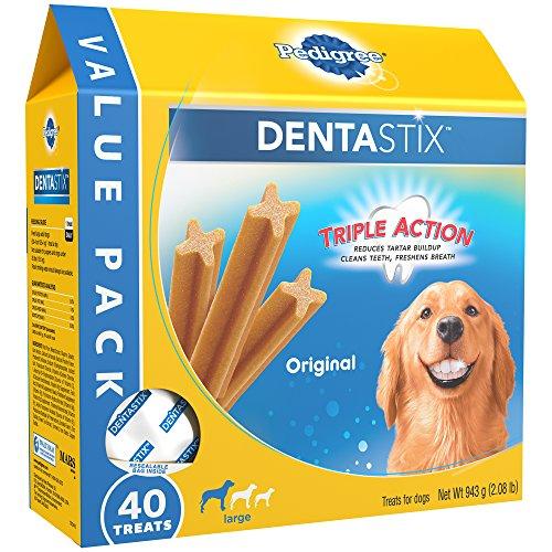 PEDIGREE DENTASTIX Large Dog Dental Treats Original Flavor Dental Bones, 2.08 lb. Value Pack (40 Treats)