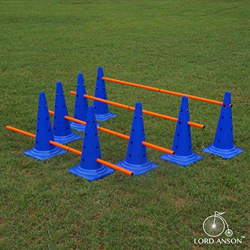 Lord Anson Dog Agility Hurdle Cone Set – Canine Agility Training Set – Obedience, Agility, and Rehabilitation – 8 Agility Cones and 4 Agility Rods