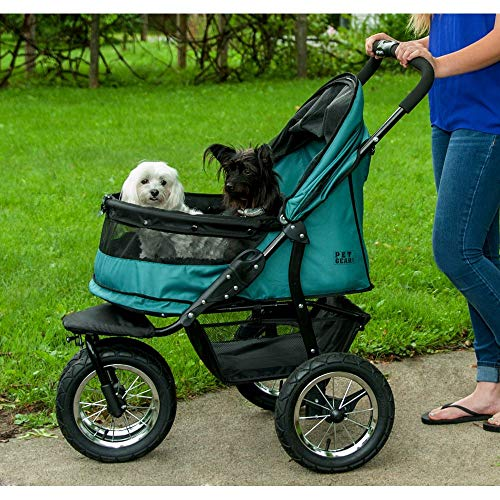 Pet Gear NO-ZIP Double Pet Stroller, Zipperless Entry, for Single or Multiple Dogs/Cats, Plush Pad + Weather Cover Included, Large Air Tires, Pine Green