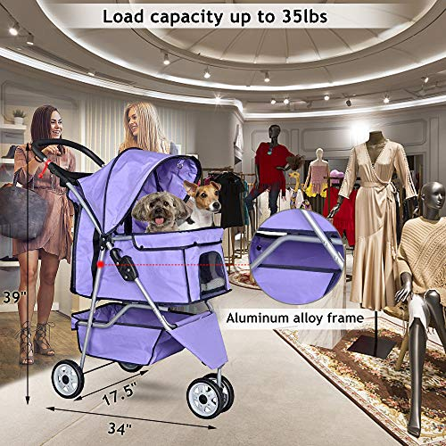 Pet Stroller Jogger Cat Dog Cage 3 Wheels Stroller Travel Folding Carrier Strolling Cart with Cup Holders and Removable Liner 35Lbs Capacity Large Doggie Stroller for Small-Medium Dogs, Cats
