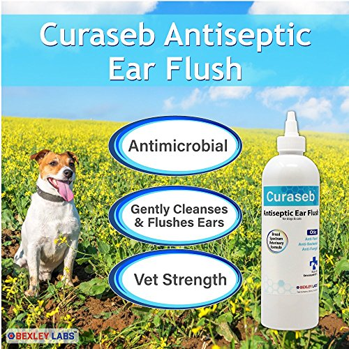 Curaseb – Dog Ear Infection Treatment – Treats Ear Mite, Yeast & Fungal Infections – Cleans & Flushes Away Sticky & Smelly Infected Ears – Broad Spectrum Veterinary Formula, 12oz