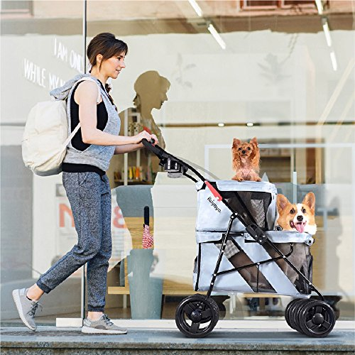 ibiyaya 4 Wheel Double Pet Stroller for Dogs and Cats, Great for Twin or Multiple pet Travel (Silver Grey)