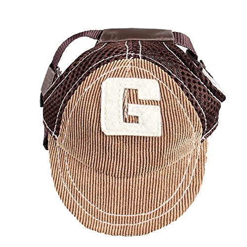 MYIDEA Adjustable Baseball Hats for Dogs – Cowboy Sun Hats for Dogs, Visor Sports Summer Hat for Dog Outdoor Ear Holes Sunbonnet Pet Supply (Baseball Cap Brown, L)