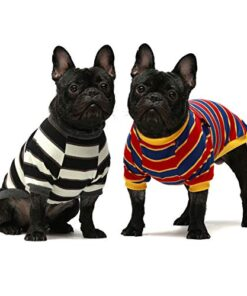 Fitwarm 2-Pack 100% Cotton Striped Dog Shirt for Pet Clothes Puppy T-Shirts Cat Tee Breathable Stretchy Black-White Yellow Blue Large
