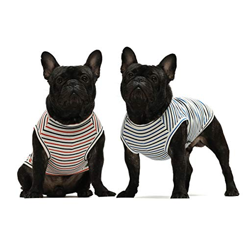 Fitwarm 2-Pack 100% Cotton Striped Dog Shirt for Pet Clothes Puppy T-Shirts Cat Tank Vest Tee Breathable Stretchy White Small