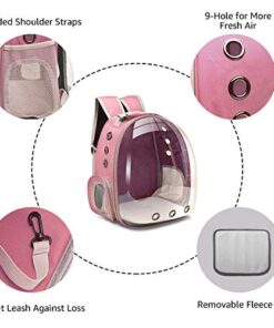 Henkelion Cat Carrier Dog Carrier Backpack, Pet Carrier Back Pack Front Pack for Small Medium Cat Puppy Doggie, Dog Body Carrying Bag Travel Space Capsule Knapsack – Pink