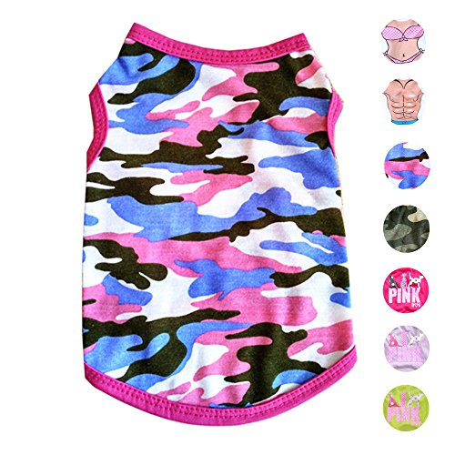 Alroman Dog Shirts Pet Shirts Dog T-Shirt Puppy Tee Dog Vest Puppy Vest Pet Clothes for Small Dogs and Cats Doggie Camouflage Shirt Puppy Summer Apparel Dogs Pink Camo Shirt Pet Beach Wear(M)