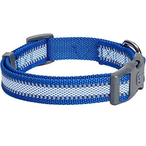Blueberry Pet Essentials 2020 New Reflective Back to Basics Adjustable Dog Collar, Navy Blue, Medium, Neck 14.5″-20″