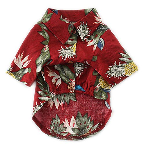 CT COUTUDI Hawaiian Dog Shirts Aloha Dog Shirt Pet Summer Cool Summer Flower Pineapple Shirt for Small to Medium Puppy Dog Cat