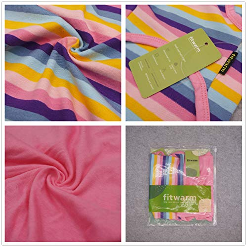 Fitwarm 2-Pack 100% Cotton Striped Dog Shirt for Pet Clothes Puppy Vest T-Shirts Cat Top Tee Breathable Stretchy Pink Small