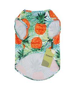Fitwarm Hawaiian Dog Shirts Tropical Pineapple Doggie T-Shirts Puppy Tee Top Aloha Vest Pet Clothes Green Small