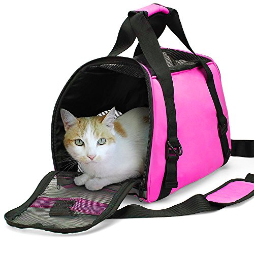 ZaneSun Cat Carrier,Soft-Sided Pet Travel Carrier for Cats,Dogs Puppy Comfort Portable Foldable Pet Bag Airline Approved (Small Pink)