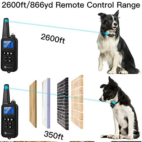 Slopehill Dog Training Collar, Dog Shock Collar with 2600Ft Remote, Rechargeable Dog Collar with Vibration, Beep Shock Modes, Adjustable 0 to 99 Shock Levels Dog Training Set