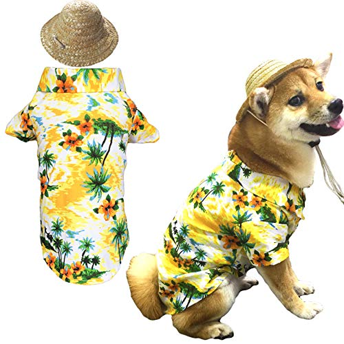 Hawaiian Pet Dog T-Shirt Summer Camp Clothes Apparel with Straw Hat for Small Medium Large Dog Puppies Cats Large