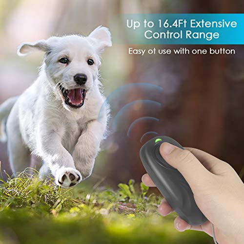 Zomma Anti Barking Device, Ultrasonic Dog Bark Deterrent, 2 in 1 Adjustable Frequency Dog Barking Deterrent Devices Handheld Dog Training Device with LED Indicator Wrist Strap for Indoor Outdoor