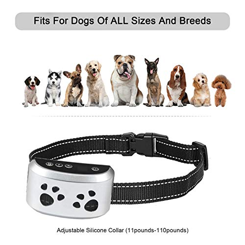 Dog Bark Collar Dogs No Bark Humane No Shock Training Collar Action Without Remote – Vibration & Sound Care Modes – for Small, Medium, Large Dogs Breeds No Harm Deterrent Reflective Vibrating Control