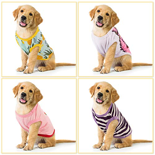 SATINIOR Pet Shirts Printed Puppy Shirt Summer Dog Cool Vest Cute Dog Clothing Cotton Dog Pullover Soft Sweatshirt for Small Pet Apparel, Various Style (M)
