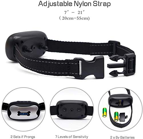POP VIEW 【2020 New Version】 Dog Bark Collar for Small, Medium, Large Dogs, Barking Control Training Collar, Anti Bark Collar with Sound and Vibration, No Shock, Harmless & Humane