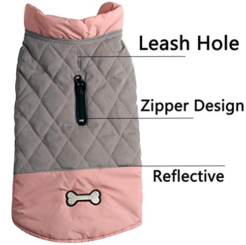 vecomfy Reversible Dog Coats for Small Dogs Waterproof Warm Cotton Puppy Jacket for Cold Winter,Pink and Grey S