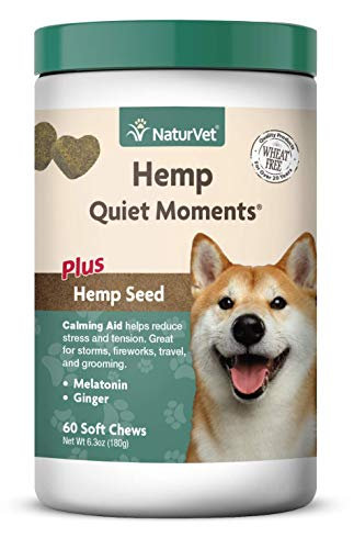 NaturVet – Hemp Quiet Moments Calming Aid for Dogs – Plus Hemp Seed – Helps Reduce Stress & Promote Relaxation – Great for Storms, Fireworks, Separation, Travel & Grooming – 60 Soft Chews