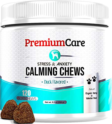 PREMIUM CARE Calming Treats for Dogs – Made in USA – Helps with Dog Anxiety, Separation, Barking, Stress Relief, Thunderstorms and More – Natural Calming Relaxer for Aggressive Behavior – 120 Chews