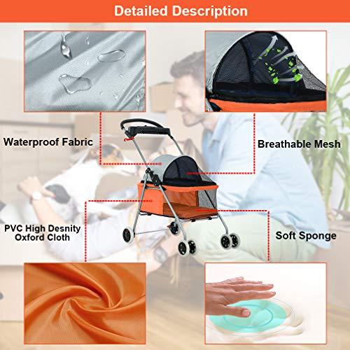 New BestPet Orange Posh Pet Stroller Dogs Cats w/Cup Holder