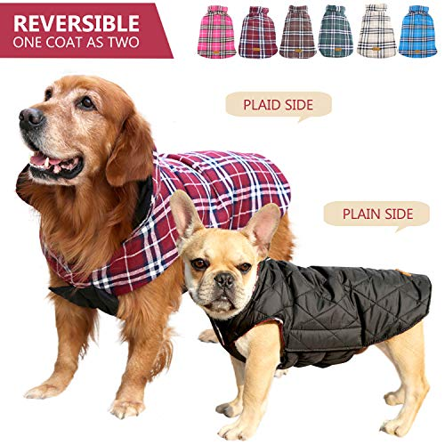 Kuoser Dog Coats Dog Jackets Waterproof Coats for Dogs Windproof Cold Weather Coats Small Medium Large Dog Clothes Reversible British Style Plaid Dog Sweaters Pets Apparel Winter Vest for Dog Red S