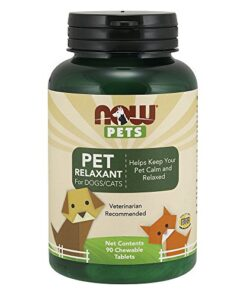 NOW Pet Health, Pet Relaxant Supplement, Formulated for Cats & Dogs, NASC Certified, 90 Chewable Tablets