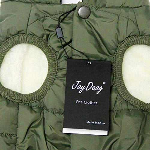 JoyDaog 2 Layers Fleece Lined Warm Dog Jacket for Puppy Winter Cold Weather,Soft Windproof Small Dog Coat,Green S