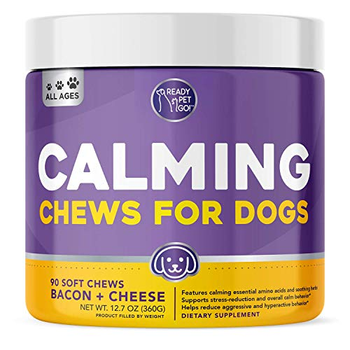 Ready Pet Go! Natural Calming Treats for Dogs with Hemp | Helps with Dog Anxiety, Separation, Barking, Fireworks, Storms | Made in USA | Dog Calming Treats | 90 Calming Chews